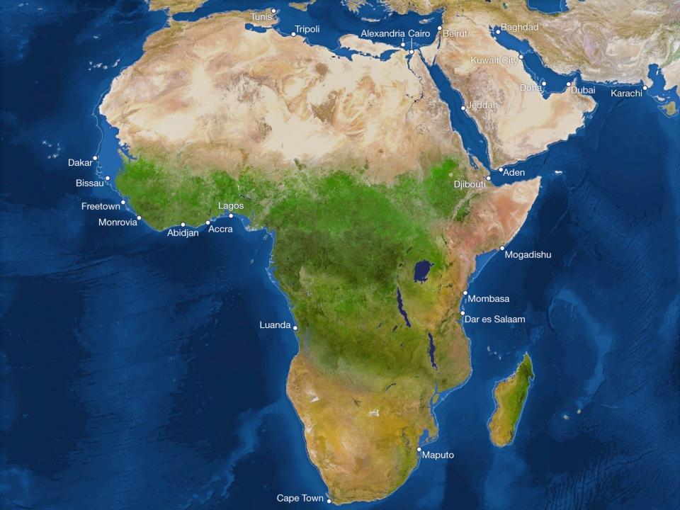 Африка после подъёма уровня вод Мирового океана