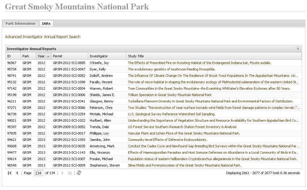 Перечень всех научно-исследовательских работ, проводимых на территории национального парка Грейт-Смоки-Маунтинс