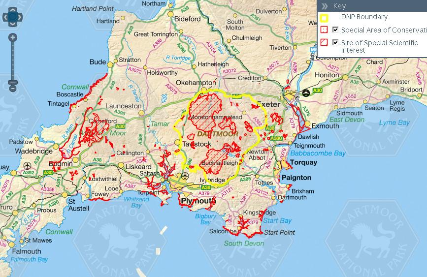 Шейп-файлы границ национального парка Дартмур (Dartmoor National Park), включая функциональное зонирование