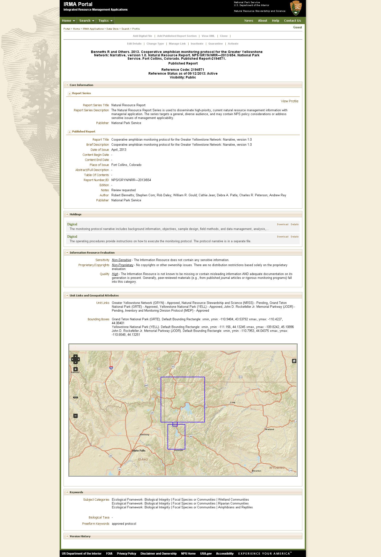 Протокол, содержащий подробную информацию о целях, задачах, методах и объектах мониторинга, а также картографические данные