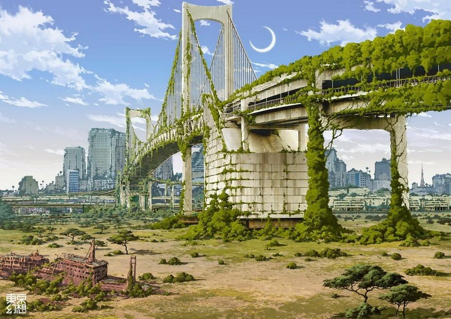 Радужный мост в Токио после апокалипсиса