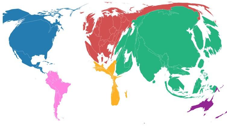 Части света по количеству потребляемых углеводородных ресурсов