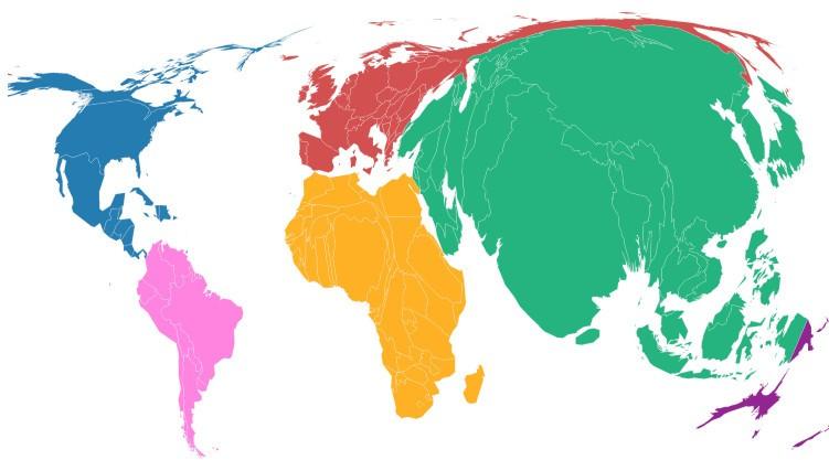 Части света по численности населения