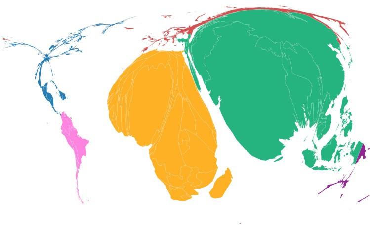 Части света в зависимости от уровня бедности