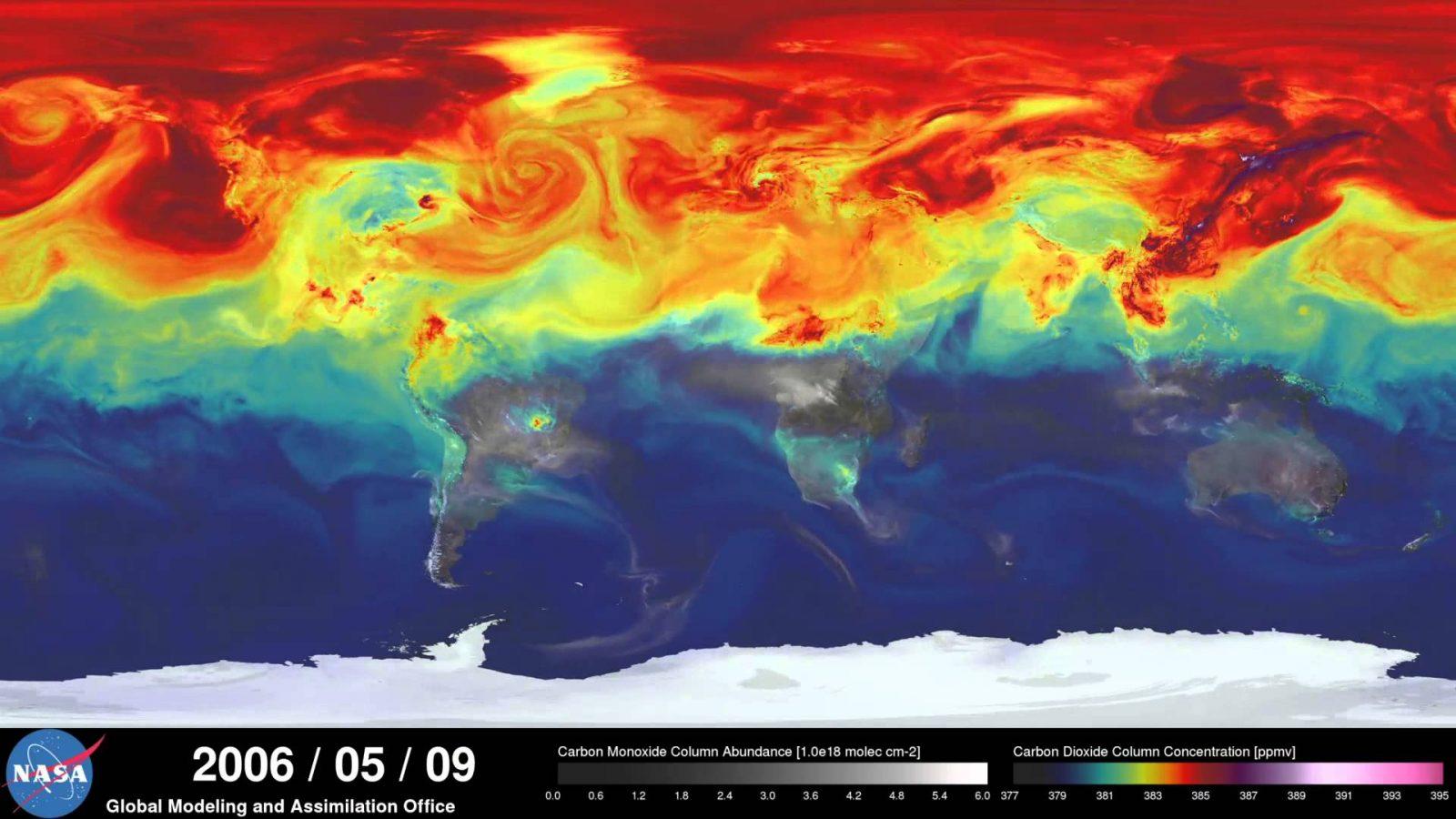Годовая циркуляция углекислого газа в атмосфере Земли