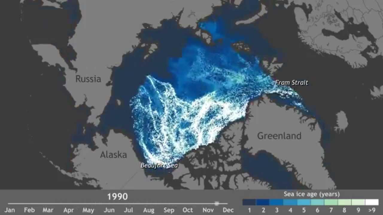 Таяние арктического льда за последние 27 лет