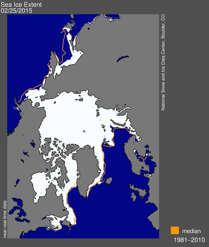 Площадь арктических льдов в сравнении со средними значениями