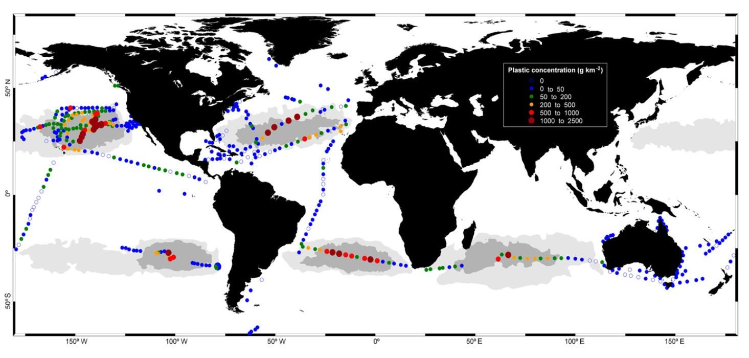 Концентрация пластикового мусора в Мировом оккане