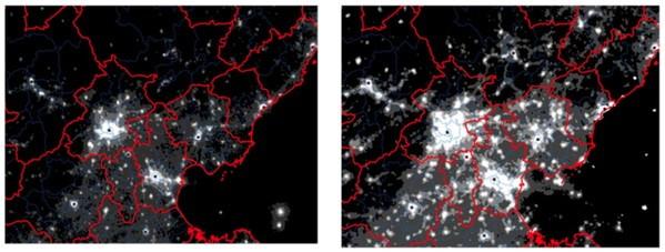 Пекин из космоса ночью