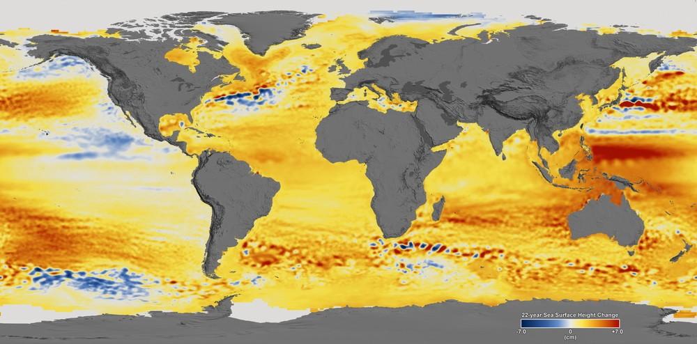 Повышение уровня Мирового океана с 1992 по 2014 год