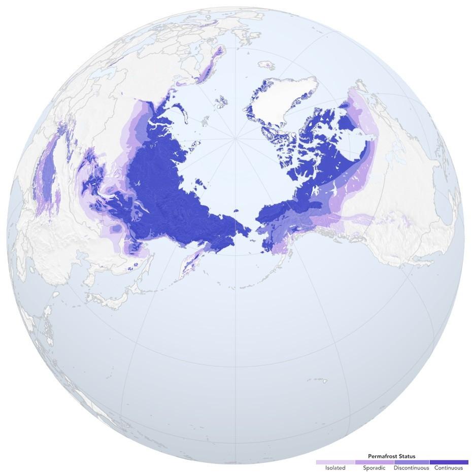 Вечная мерзлота в Северном полушарии