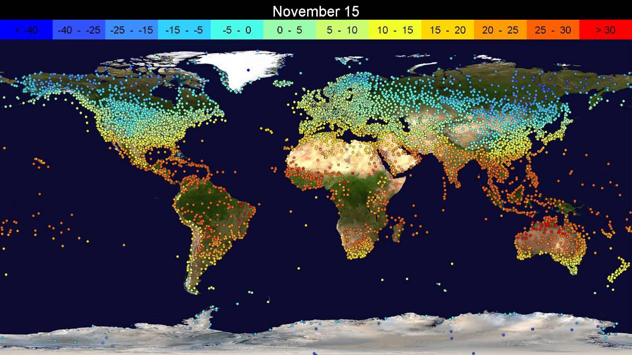 Time-lapse видео средних температур на Земле