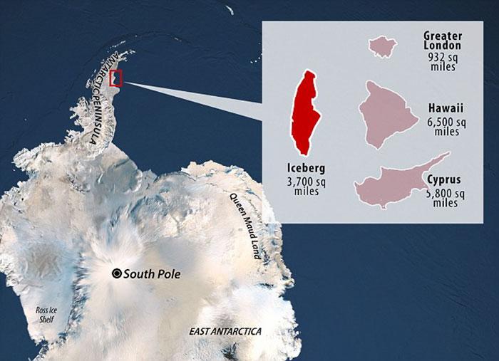 Гигантский айсберг откололся от Антарктиды