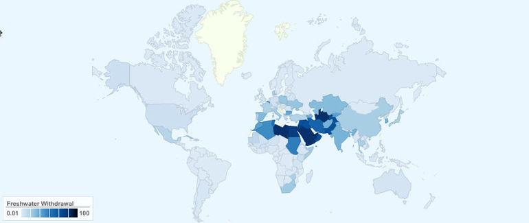 Процент потребляемой воды от общих запасов возобновляемых водных ресурсов страны